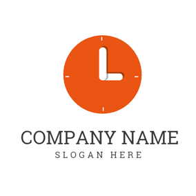 Orange Clock and White Letter L logo design