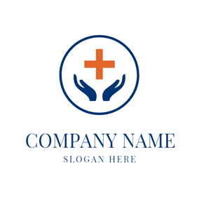 Orange Cross and Blue Hands logo design