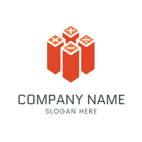 Orange Cuboid and White Math Sign logo design