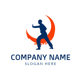 Orange Decoration and Blue Karate Sportsman logo design