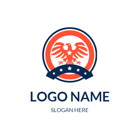 Orange Eagle and Badge logo design