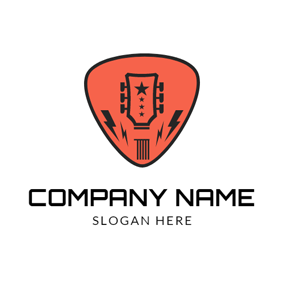Orange Figure and Abstract Guitar logo design