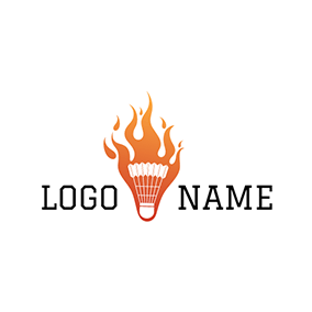 Orange Flame and Badminton logo design