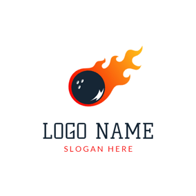 Orange Flame and Black Bowling logo design