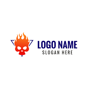 Orange Flame and Skull Icon logo design