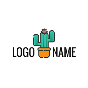 Orange Flowerpot and Green Cactus logo design