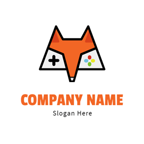 Orange Fox Face Logo Design
