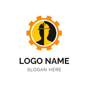 Orange Gear and Abstract Worker logo design