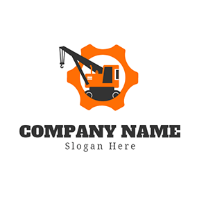 Orange Gear and Black Crane logo design