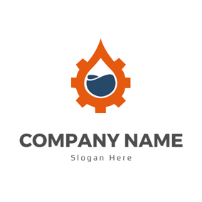 Orange Gear and Blue Petrol logo design