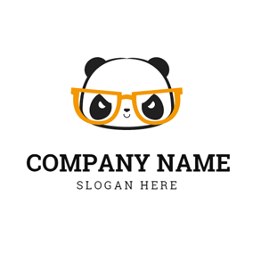 Orange Glasses and Likable Panda logo design