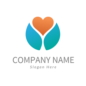 Orange Heart and Letter Y logo design