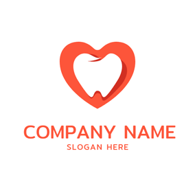 Orange Heart and Tooth logo design