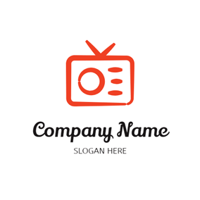 Orange Likable Radio Outline logo design