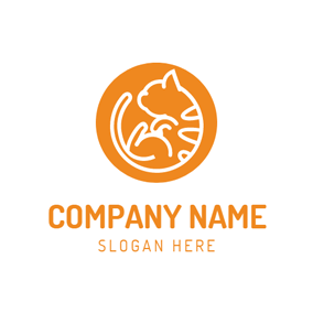 Orange Little Cat logo design