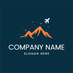 Orange Mountain and White Airplane logo design