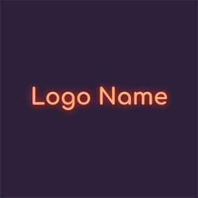 Orange Neon Light and Cool Text logo design