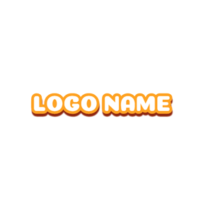 Orange Outline and White Font logo design