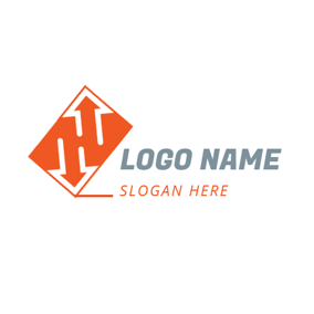 Orange Rectangle and White Arrow logo design