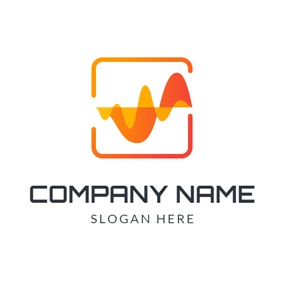 Orange Square and Voice Frequency logo design