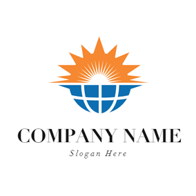 Orange Sun and Blue Earth logo design