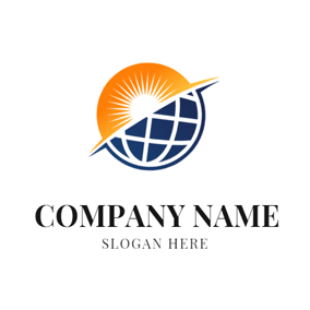 Orange Sun and Blue Globe logo design