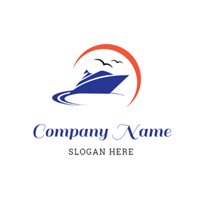 Orange Sun and Blue Sailboat logo design