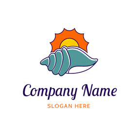 Orange Sun and Blue Shell logo design