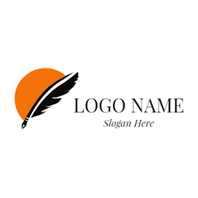 Orange Sun and Feather Pen logo design