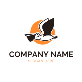 Orange Sun and Fly Pelican logo design