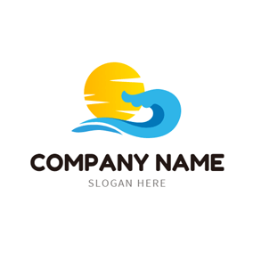 Orange Sun and Ocean Wave logo design