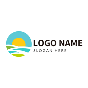 Orange Sun and Simple Line logo design