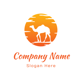 Orange Sun and White Camel logo design