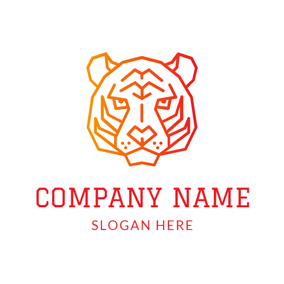 Orange Tiger Face logo design