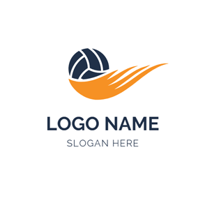 Orange Wing and Blue Volleyball logo design