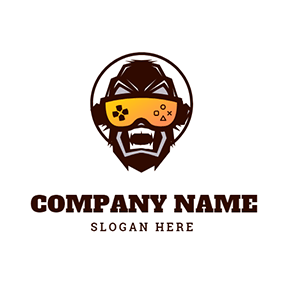 Orangutan Face and Yellow Vr Glasses logo design
