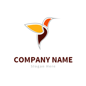 Outline and Colorful Hummingbird logo design