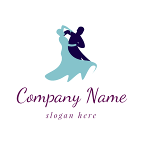 Outlined Couple and Social Dance logo design