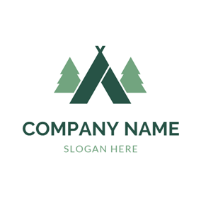 Outlined Green Tree and Tent logo design