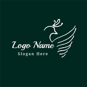 Outlined Green White Phoenix logo design