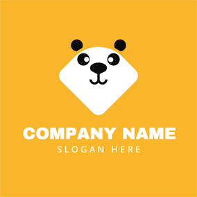 Outlined Happy Panda logo design