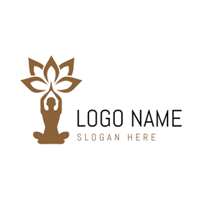 Outlined Lotus and Yoga logo design