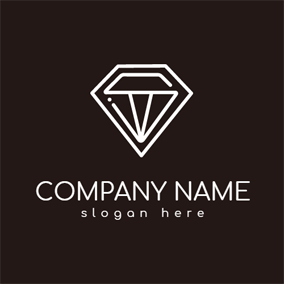 Outlined White Diamond logo design