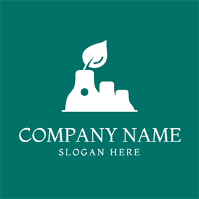 Outlined White Factory and Leaf logo design