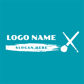 Outlined White Foundation Brush logo design