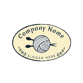 Oval Wool Ball Needle Handmade logo design