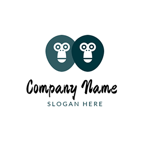 Overlap Monkey Face logo design