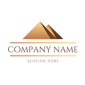 Overlapping Yellow Pyramid Scenery logo design