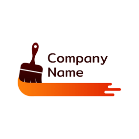 Paint Brush and Orange Paint logo design