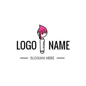 Paint Brush and Pink Paint logo design